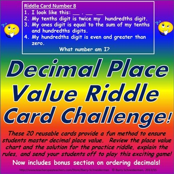Decimal Place Value Riddle Card Challenge Game (now with Ordering of Decimals!)
