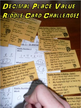 Decimal Place Value Riddle Card Challenge Game (with Ordering of Decimals!)