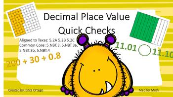 5th Grade Decimal Place Value Quick Check Activity Sheets 5.2A 5.2B 5.2C