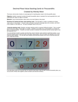5.NBT.3 Decimal Place Value Cards - Stacking
