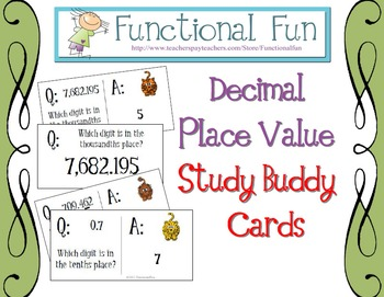Decimal Place Value Study Buddy Cards