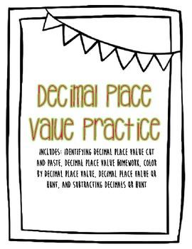 Decimal Place Value + Subtracting Decimals QR Hunt