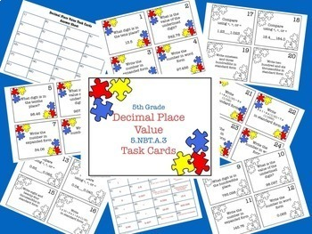 Decimal Place Value Task Card Bundle