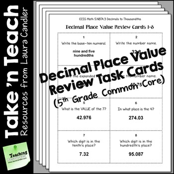 Decimal Place Value Task Cards (5th Grade Common Core)
