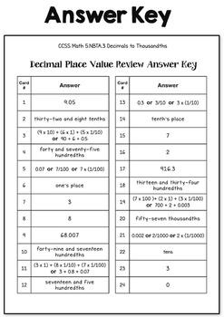 Decimal Place Value Task Cards (5th Grade Common Core)