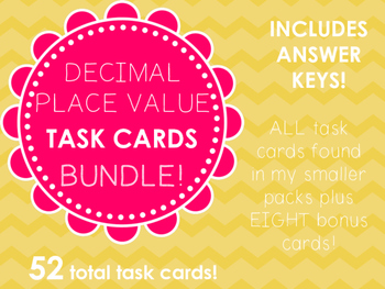 Decimal Place Value Task Cards Bundle