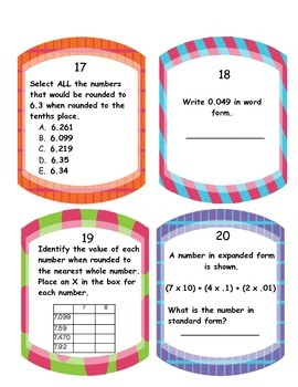 Decimal Place Value Task Cards & SCOOT- CCSS and MAFS Aligned