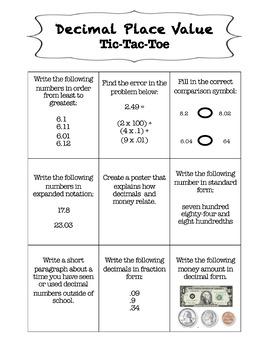 Decimal Place Value: Tic-Tac-Toe