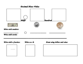 Decimal Place Value Using Coins and Dollars
