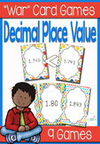 "Decimal Place Value ""War"" card game center and worksheets"