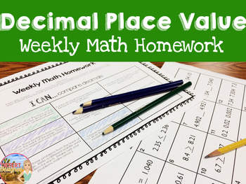 Decimal Place Value Weekly Math Homework