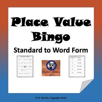 Decimal Place Value- Word Form Bingo (30 pre-made cards!)