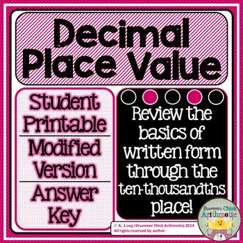 Decimal Place Value Worksheet