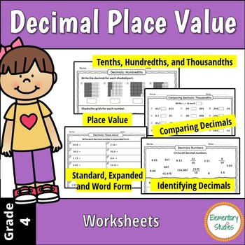 Decimal Place Value Worksheets and Task Card Bundle