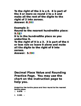 Decimal Place Value and Rounding