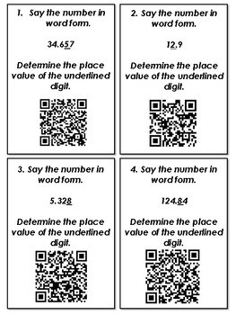 Decimal Place Value and Rounding QR Code Task Cards