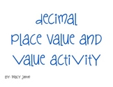 Decimal Place Value and Value Activity