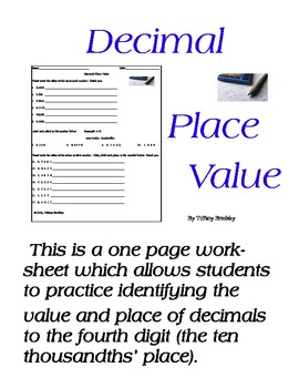 Decimal Place Value from ones to ten-thousandths