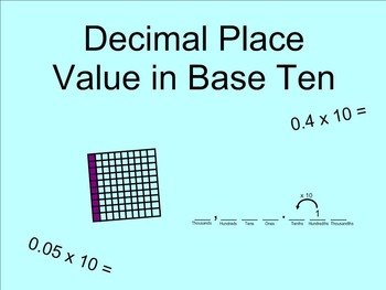 Decimal Place Value in Base Ten SMARTnotebook