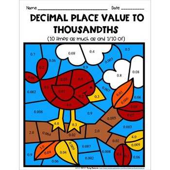 Decimal Place Value to Thousandths Color by Number-Fall Theme