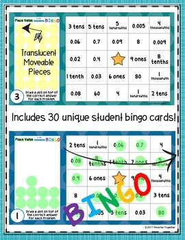 Decimal Place Value to the Thousandths Digital Bingo