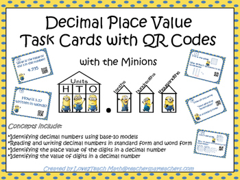 Decimal Place Value with the Minions: QR Task Cards