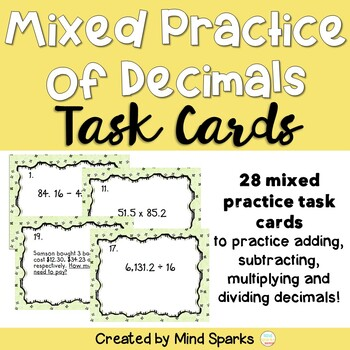 Decimal Practice: Mixed Review Task Cards