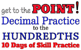 Decimal Practice to the Hundredths: practice adding, rounding, number lines