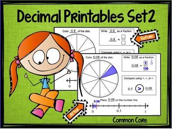 """Decimal Place Value Set 2 """"Models, Symbols, and Number Line"""""""