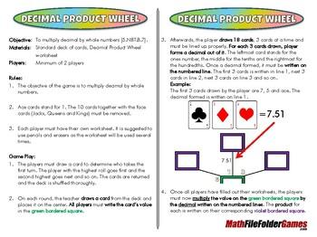 Decimal Product Wheel - 5th Grade Game [CCSS 5.NBT.B.7]