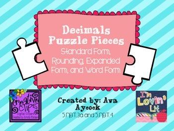 Decimal Puzzle Pieces Activity 5.NBT.3a and 5.NBT.4