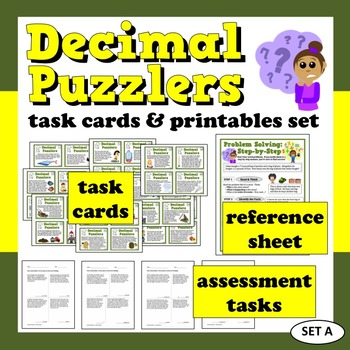 Decimal Puzzlers +/– with decimals word problems task cards & printables (set a)