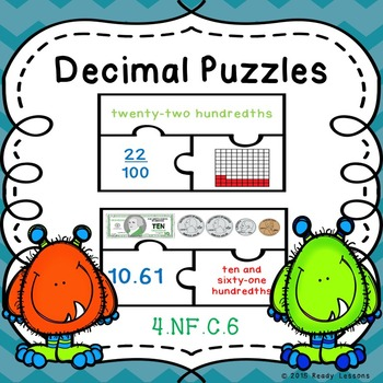 Decimals as Fractions, Decimal Word Form, Counting Money, Game Puzzles 4.NF.6