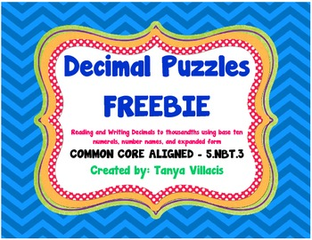 Decimal Puzzles FREEBIE COMMON CORE ALIGNED 5.NBT.3