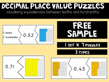 FREE Decimal Puzzles: Tenths and Hundredths Equivalencies
