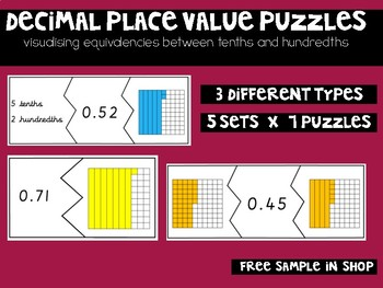 Decimal Puzzles: Tenths and Hundredths Equivalencies