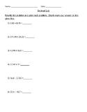 Decimal Quiz - Add, Subtract, and Multiply