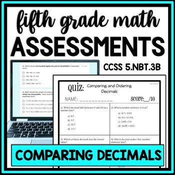 Decimal Quiz: Comparing & Ordering Assessment, 2 Versions!  5.NBT.3B