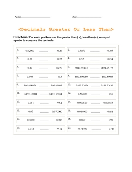 Decimal Quiz (Greater Than & Less Than)
