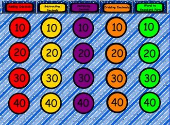 Decimal Quiz Show! A review game for SMARTboard