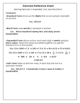 Decimal Reference Sheet/ Writing Numbers in Different Forms