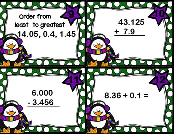 Decimal Review (Adding, Subtracting, Ordering) Penguins Winter Task Cards