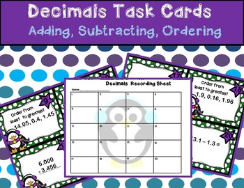 Decimal Review (Adding, Subtracting, Ordering) Penguins Wi