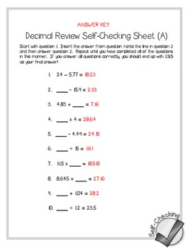 Decimal Review (All Operations) Self-Checking Worksheets - Differentiated
