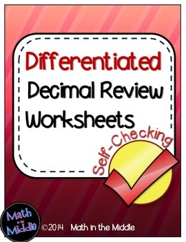 Decimal Review (All Operations) Self-Checking Worksheets -