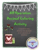 Decimal Review (All Operations) Valentines Day Coloring Activity