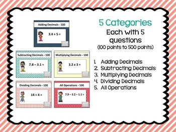 Decimal Review Game Part 1 - Similar to Jeopardy