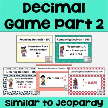 Decimal Review Game Part 2 - Similar to Jeopardy