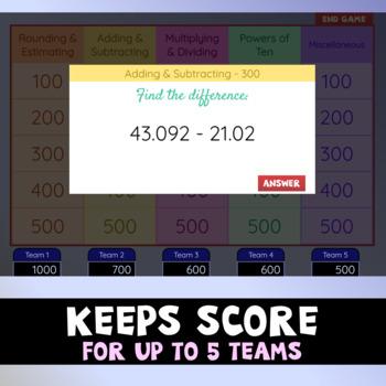 Decimal Math Game Show - Interactive Math Review Game