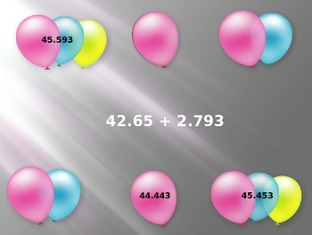 Decimal Review - Pop the Balloon